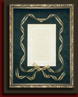 framed wedding invitations and wedding portrait framing