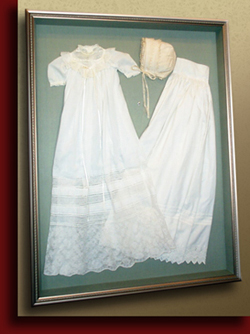 shadowbox christening gown handwrapped mat
