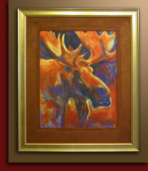 "limited edition print ""Sunset Moose"" Judy Nansel embossed mat handwrapped"