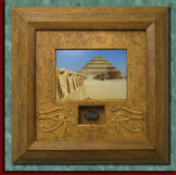 Pyramid frame with pyramid photo and stone