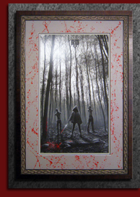 walking dead poster custom mat with stacked frame